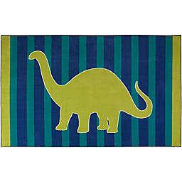 "Mohawk Aurora Kids Friendly Dinosaur 3'9"" x 5' Area Rug in Blue"