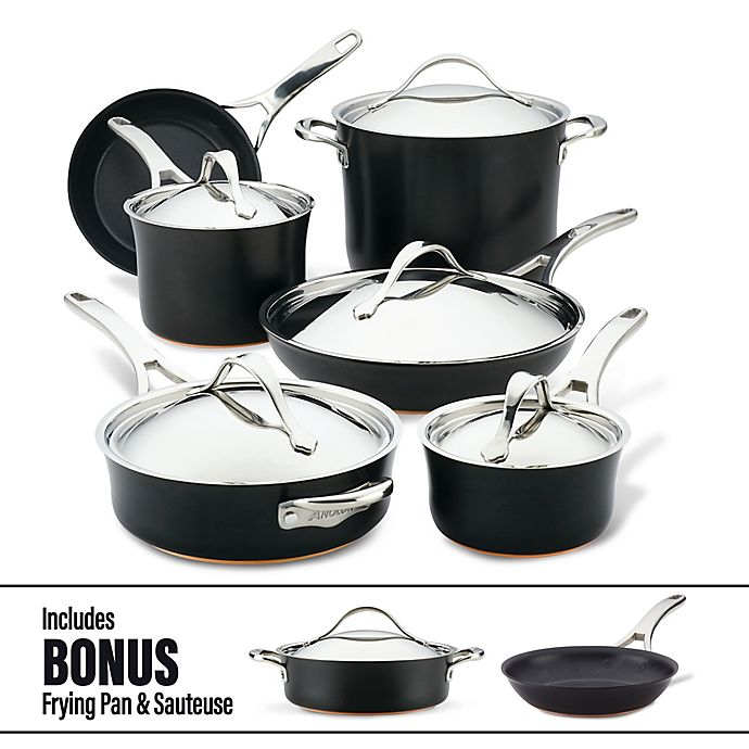 Alternate image 1 for Anolon® Nouvelle Copper Luxe Nonstick Hard-Anodized 11-Piece Cookware Set in Onyx
