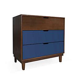 Nico & Yeye Kabano Kids 3-Drawer Dresser in Deep Blue/Walnut
