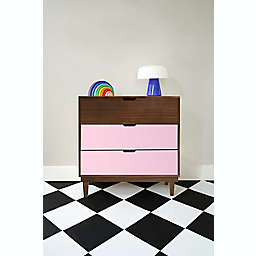 Nico & Yeye Kabano Kids 3-Drawer Dresser in Pink/Walnut