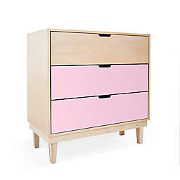 Nico & Yeye Kabano Kids 3-Drawer Dresser in Pink/Maple