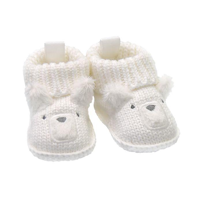Alternate image 1 for goldbug Newborn Crochet Knit Bear Bootie in White