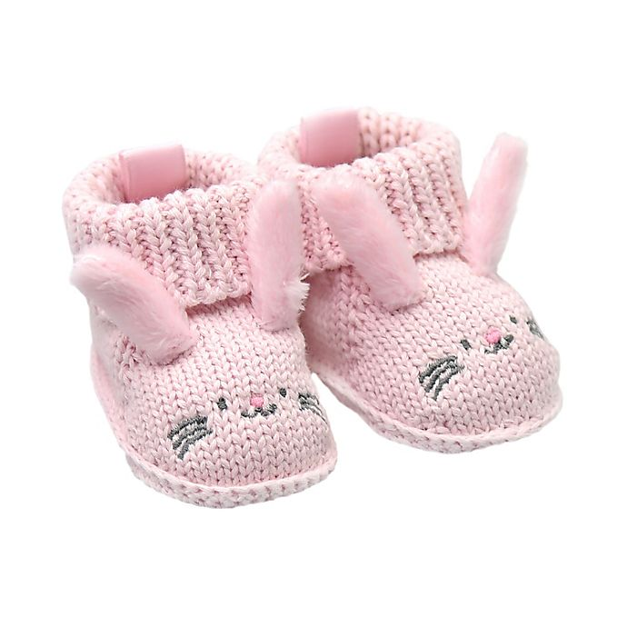 Alternate image 1 for goldbug Newborn Crochet Knit Bunny Bootie in Pink
