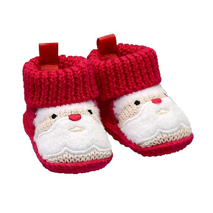 Alternate image 1 for goldbug Newborn Crochet Knit Santa Bootie in Red