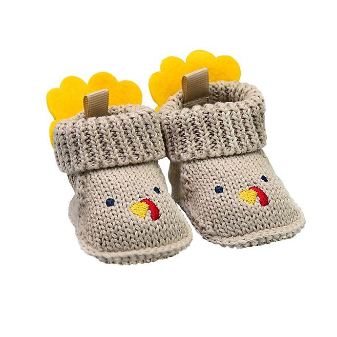 Alternate image 1 for goldbug Newborn Crochet Knit Turkey Bootie in Brown