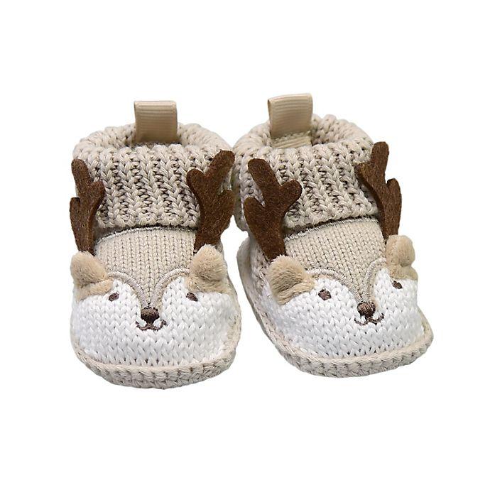 Alternate image 1 for goldbug Newborn Crochet Knit Reindeer Bootie in Brown