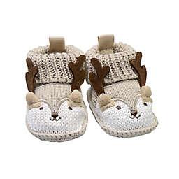 goldbug Newborn Crochet Knit Reindeer Bootie in Brown