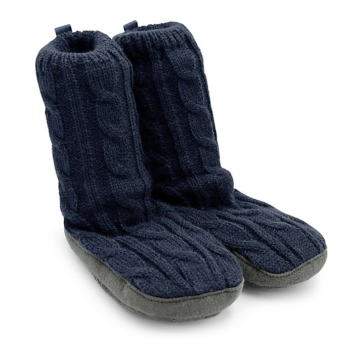 Alternate image 1 for Goldbug™ Size 0-6M Cable Knit Slipper in Navy