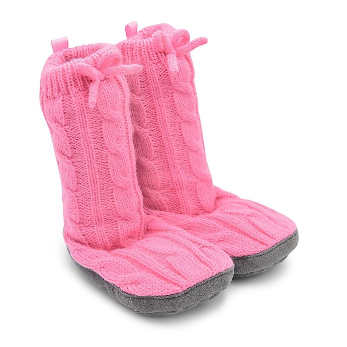 Alternate image 1 for Goldbug™ Size 12-18M Cable Knit Slipper in Pink