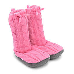 Goldbug™ Size 12-18M Cable Knit Slipper in Pink
