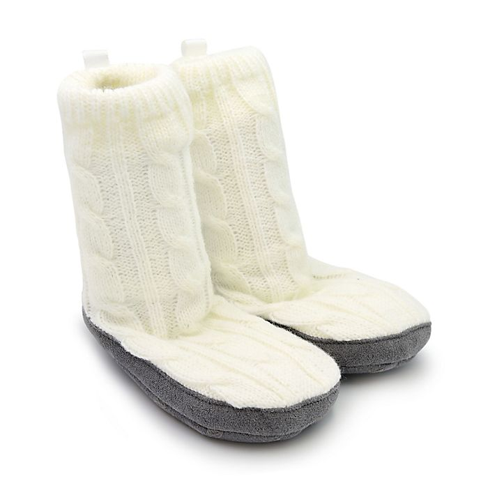 Alternate image 1 for Goldbug™ Size 6-12M Cable Knit Slipper in Ivory