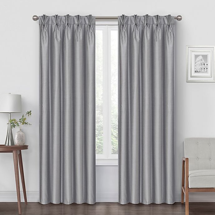 Alternate image 1 for Pinch Pleat 84-Inch Back Tab Blackout Window Curtain Panel in Silver