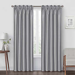 Pinch Pleat 84-Inch Back Tab Blackout Window Curtain Panel in Silver