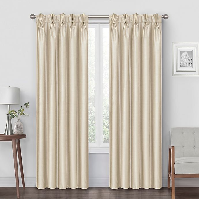 Alternate image 1 for Pinch Pleat 95-Inch Back Tab Blackout Window Curtain Panel in Champagne