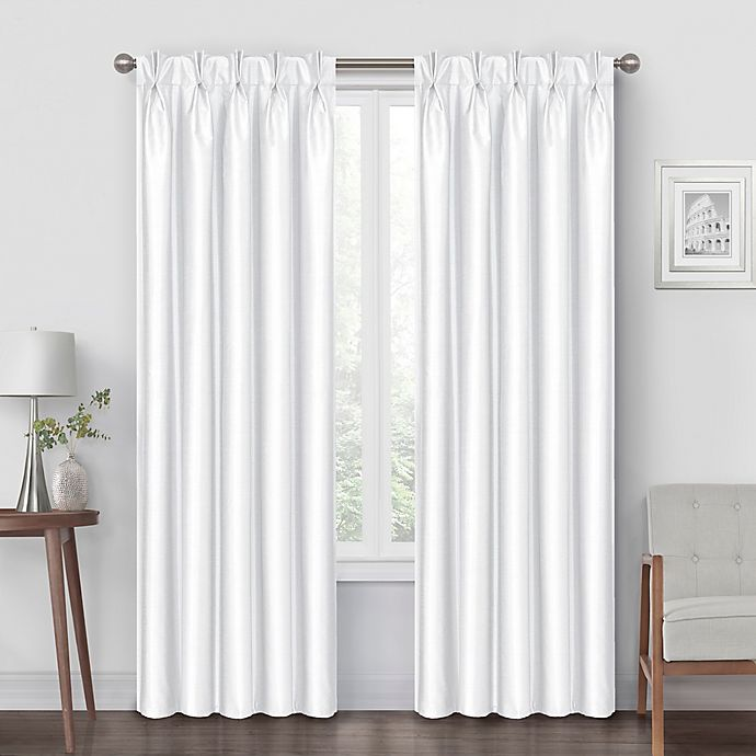 Alternate image 1 for Pinch Pleat 63-Inch Back Tab Blackout Window Curtain Panel in White