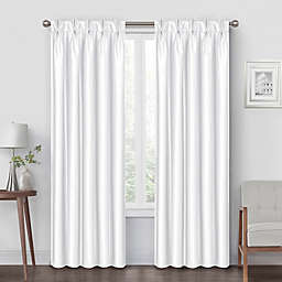 Pinch Pleat 95-Inch Back Tab Blackout Window Curtain Panel in White