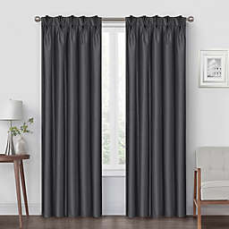 Pinch Pleat 95-Inch Back Tab Blackout Window Curtain Panel in Charcoal