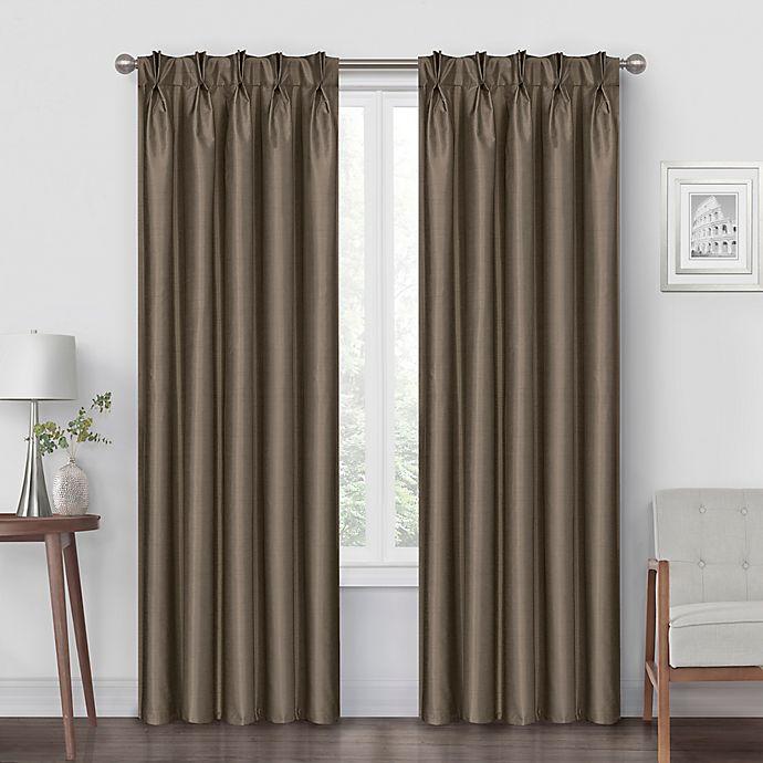 Alternate image 1 for Pinch Pleat 84-Inch Back Tab Blackout Window Curtain Panel in Mocha