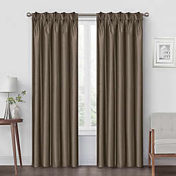 Pinch Pleat 95-Inch Back Tab Blackout Window Curtain Panel in Mocha