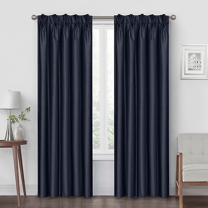 Alternate image 1 for Pinch Pleat 108-Inch Back Tab Blackout Window Curtain Panel in Navy