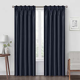 Pinch Pleat 63-Inch Back Tab Blackout Window Curtain Panel in Navy