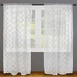 Lace Lattice Rod Pocket Window Curtain Panels (Set of 2)
