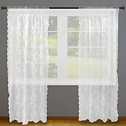 Flower Blossom Lace 2-Pack 84-Inch Rod Pocket Light Filtering Window Curtain Panels in White
