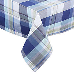 Lakeside Plaid Tablecloth in Blue/White