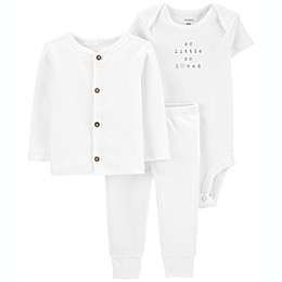 carter's® 3-Piece So Little Bodysuit, Cardigan and Pant Set in White