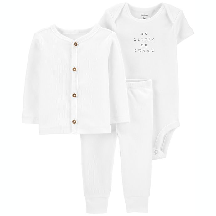 Alternate image 1 for carter's® 3-Piece So Little Bodysuit, Cardigan and Pant Set in White