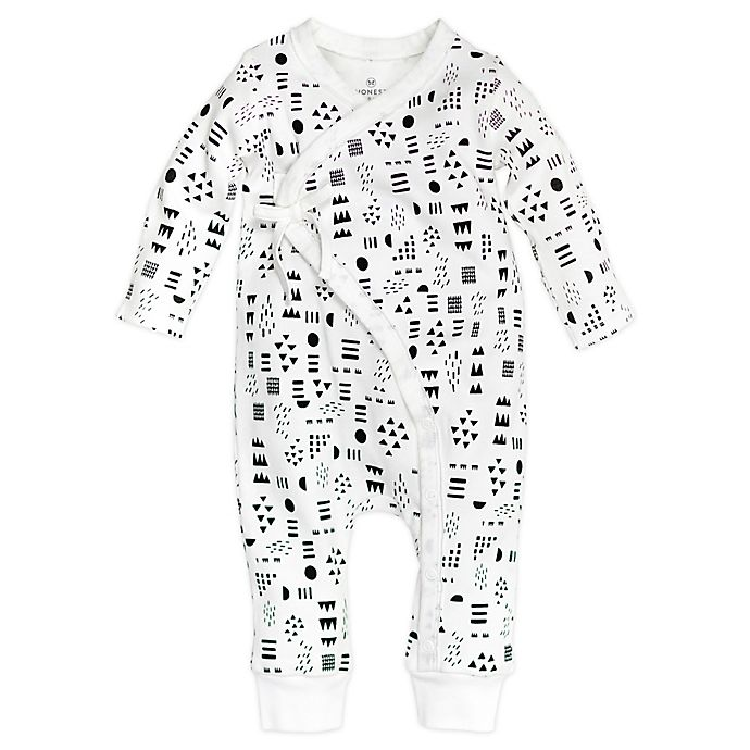 Alternate image 1 for Honest Baby® Pattern Play Organic Cotton Side-Snap Kimono Coverall in White/Black