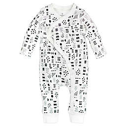 Honest Baby® Newborn Pattern Play Organic Cotton Side-Snap Kimono Coverall in White/Black