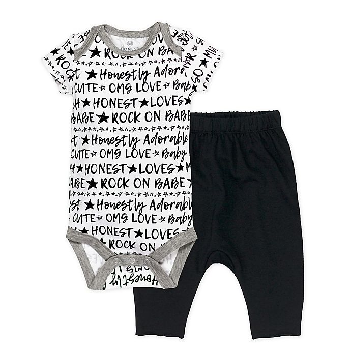 Alternate image 1 for Honest Baby® 2-Piece Words Organic Cotton Bodysuit and Pant Set in Black/White