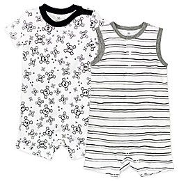 Honest Baby® 2-Pack Tossed Skulls Organic Cotton Rompers in White/Black