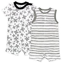 Honest Baby® 2-Pack Tossed Skulls Organic Cotton Rompers in White/Black