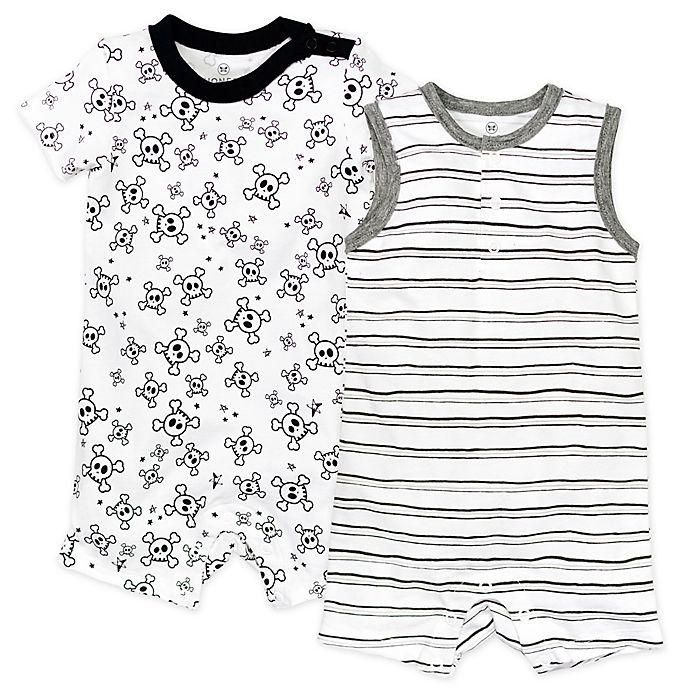 Alternate image 1 for Honest Baby® 2-Pack Tossed Skulls Organic Cotton Rompers in White/Black