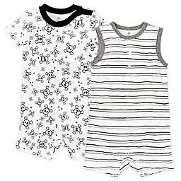 Honest Baby® Preemie 2-Pack Tossed Skulls Organic Cotton Rompers in White/Black
