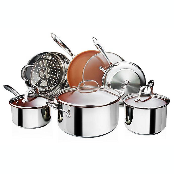 Alternate image 1 for Gotham™ Steel Nonstick Stainless Steel 10-Piece Cookware Set