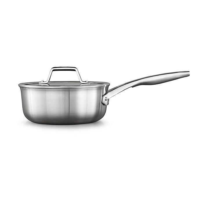 Alternate image 1 for Calphalon® Premier™ Stainless Steel 2.5 qt. Covered Saucepan