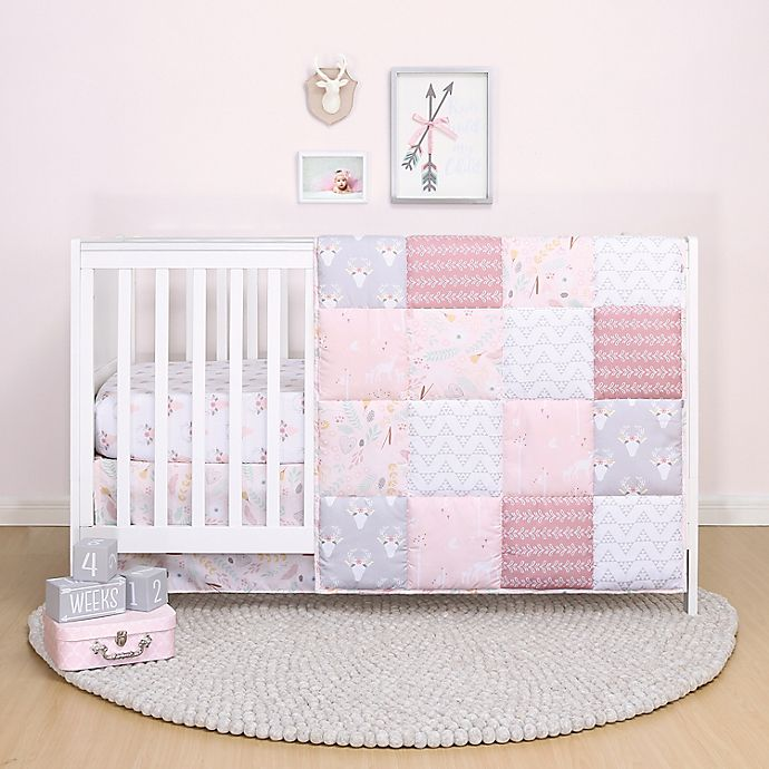 Alternate image 1 for The Peanutshell™ Meadow 3-Piece Crib Bedding Set in Pink