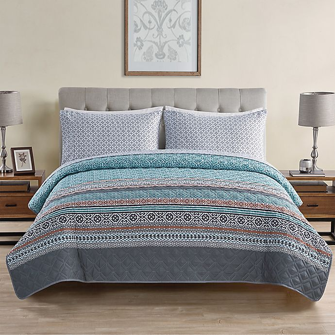 Alternate image 1 for VCNY Home Orane 4-Piece Twin XL Quilt Set in Teal
