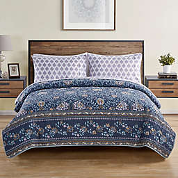 VCNY Home Haidee Damask 5-Piece Full XL Quilt Set in Navy