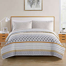 VCNY Home Sage Geometric Stripe 4-Piece Twin XL Quilt Set in Grey/Yellow