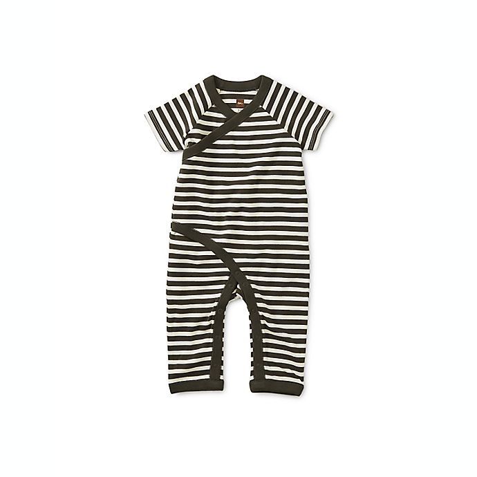 Alternate image 1 for Tea Collection Stripes Short Sleeve Wrap Romper in Grey