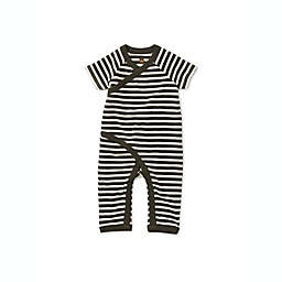 Tea Collection Stripes Short Sleeve Wrap Romper in Grey