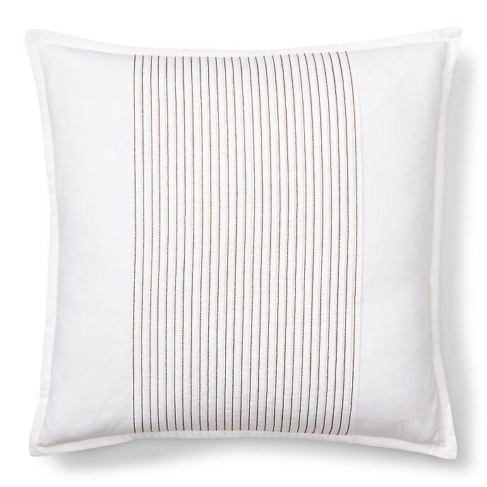 Alternate image 1 for Lauren Ralph Lauren Corrine Square Throw Pillow in White/Chocolate