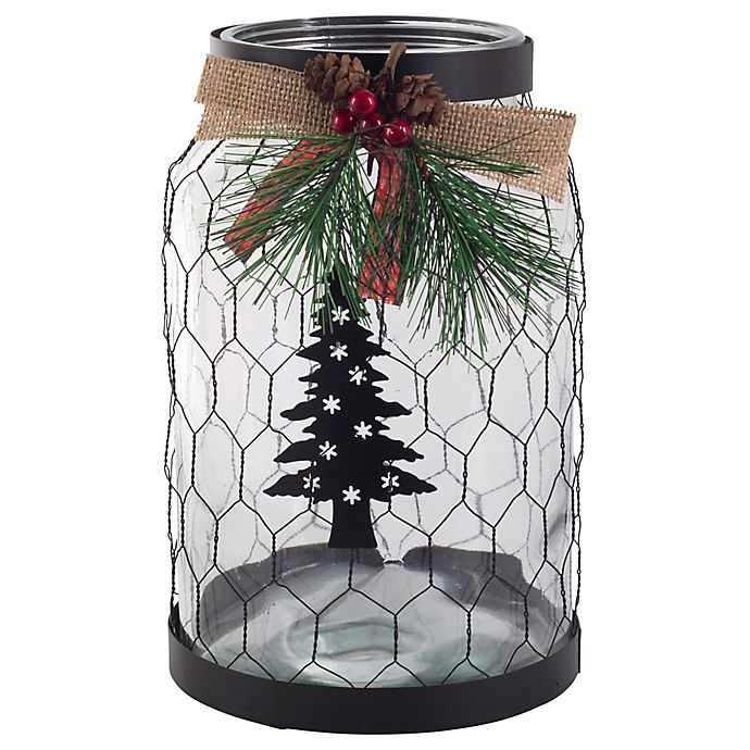 Alternate image 1 for Bee & Willow™ Home Large Tree and Wire Hurricane Glass Candle Holder