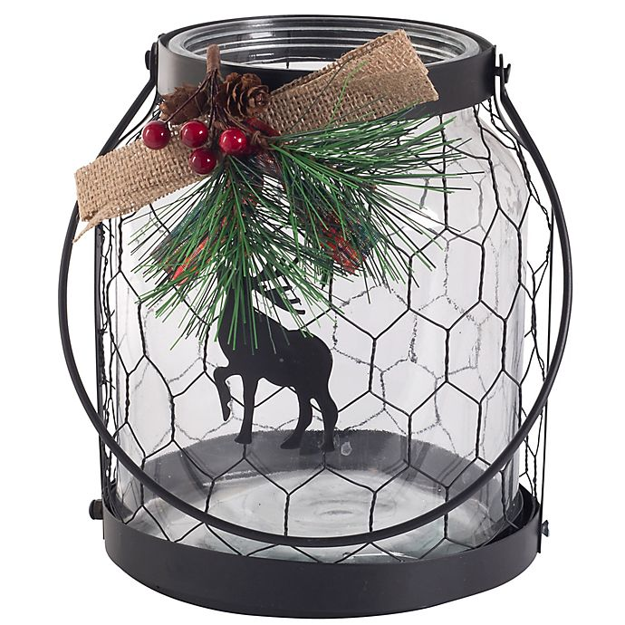 Alternate image 1 for Bee & Willow™ Home Small Reindeer and Wire Hurricane Glass Candle Holder