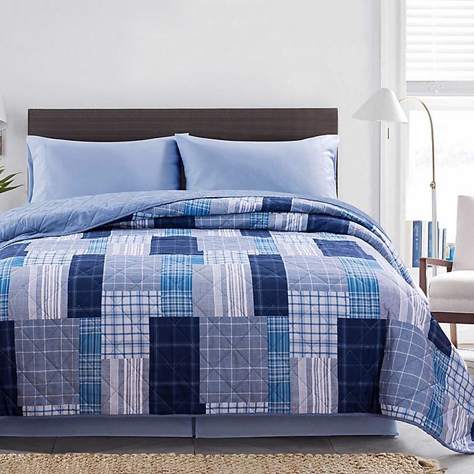 Alternate image 1 for Lance 3-Piece Reversible Plaid Twin XL Quilt Set in Navy