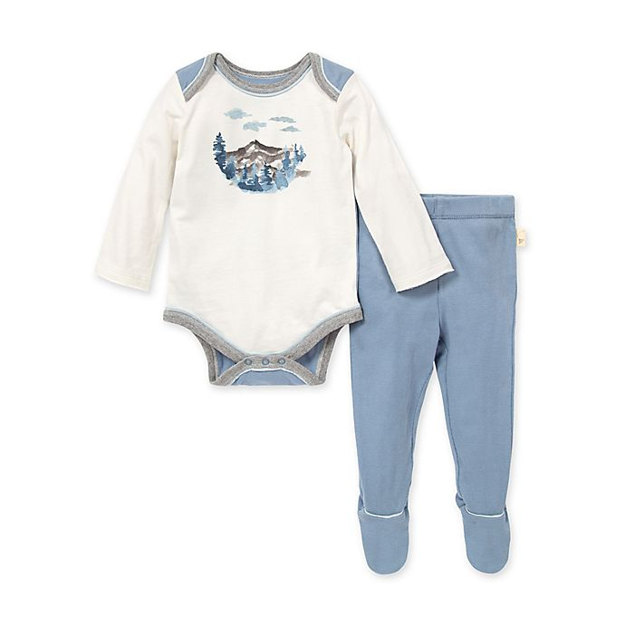 Alternate image 1 for Burt's Bees Baby® Mountainscape Bodysuit and Pant Set in Blue